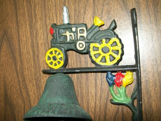 Black Cast Iron Tractor Farm Dinner Bell painted heavy new