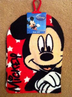Disney Mickey Mouse 100% Cotton Wash Mitt Face Cloth Bathroom