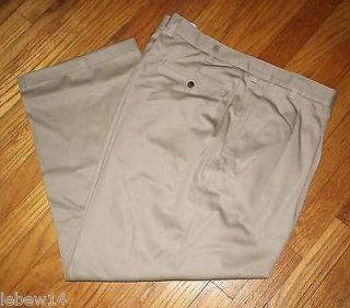 St. Johns Bay Mens Khaki Relaxed Fit Pleated Front Pants 40, 44, 46