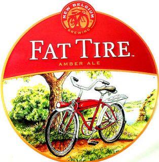Fat Tire Beer   New Belgium Brewing  Large Round Metal Sign Bike Tin