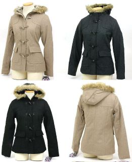 New Womens Parka Coat Toggle Button & Zipper Faux Fur Hoodie Jacket