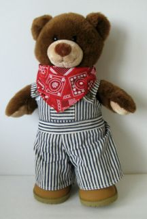Build A Bear Workshop Plush 16 Bear Striped Overalls, red Bandana