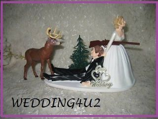 BEER CANS DRUNK WEDDING DEER HUNTER HUNTING CAKE TOPPER