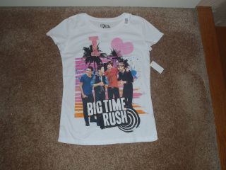 BIG TIME RUSH WHITE T SHIRT NEW WITH TAGS CARLOS KENDALL JAMES LOGIN