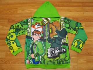 Ben 10 Ultimate Alien Hooded Jacket #989 Green Size 12 age 10 12