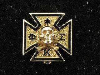 Gold & Black Enamel With Skull & Bones Phi Kappa Sigma Fraternal Pin