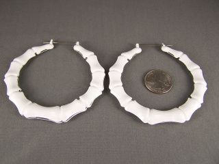White BIG hoops bamboo earrings 3.25 door knocker hoop hollow metal
