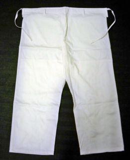 Plain WHITE Brazilian Jiu Jitsu gi PANTS No logos   Cotton FREE