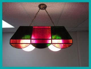 Vintage Tiffany Style Long Stained Glass Pool Table Light