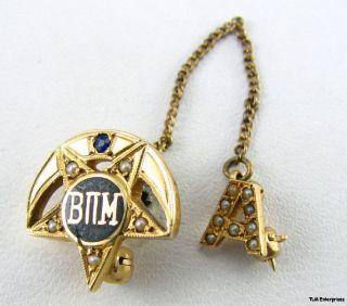 BETA PI MU   14k Gold Sapphire Kappa Sigma Like PIN