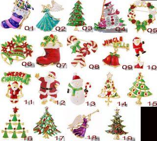 Gold Plating Enamel Alloy Rhinestone Crystal Christmas Gift Brooch