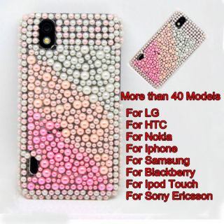 Full Pear Diamond Bling Crystal Pearl Hard Back Case Cover For Cell