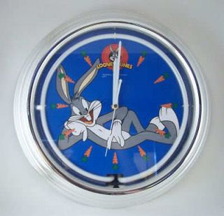 Looney Tunes BUGS BUNNY Neon Light LARGE WALL CLOCK New