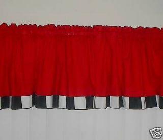 FAT CHEF KITCHEN RED w/ BLACK,WHITE CURTAIN Valances
