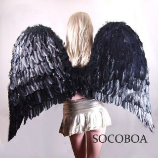 SUPER LARGE Black Feather Angel Costume Wings Men Halloween XXL adult