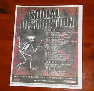 SOCIAL DISTORTION CONCERT LIST POSTER AD ~ HOUSE OF BLUES ~