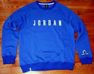 NIKE JORDAN CLASSIC CREW SWEATSHIRT MENS XL 2XL 3XL NEW BLUE FLEECE