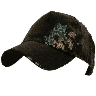 Shiny Flashy Dance Party Baseball Hat Ball Cap Black Adjustable