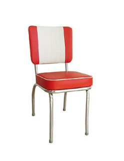 Retro Classic Diner Metal Restaurant Chair with Red and White Vinyl