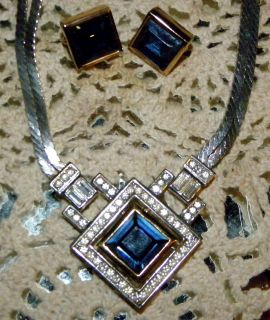 Chr Dior * Germany * Large Blue * Crystal * Necklace & Earring Set