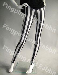 Black and White Vertical Stripes Mime Spandex Leggings Pants Striped