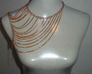 BRIGHT GOLDEN FASHION NECKLACE SHOULDER CHAIN BODY CHAIN GK5000