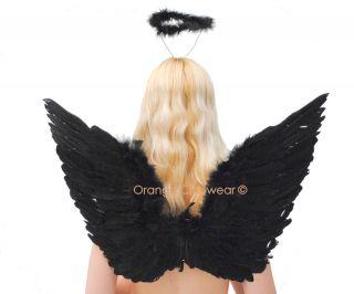 Sexy Dark Angel Accessories Black Halo Wings Halloween Costume Kit
