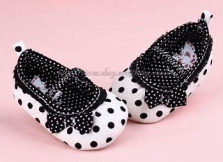 Black & White Polka Dots Mary Jane Baby Girl Crib Shoes Newborn to 12