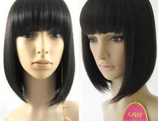 012 New Popular Short Black straight BOB Cosplay Hair Wig