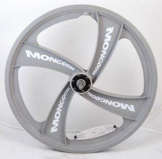 Used Mongoose BMX 4 Spoke Mag Front Wheel 20 Grey White Radical