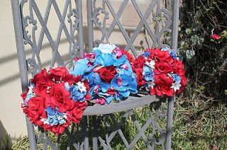 Blue,Red,White silk rose&orchid Bridal Wedding Bouquet,Boutonniere