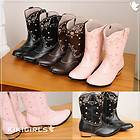 girls cowboy BOOTs kids size cute FASHION VINTAGE aux leather WESTERN