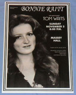 Bonnie Raitt/Tom Waits Concert Poster   Massey Hall   Toronto 1975