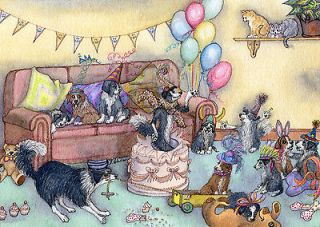 Border Collie dog pup sheepdog party time cake ACEO art card print