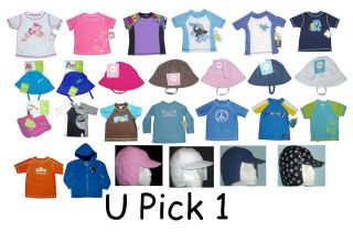 RASH GUARD SHIRT, BUCKET HAT BOYS GIRLS UPF 50+ SWIM KIDS CHILDRENS