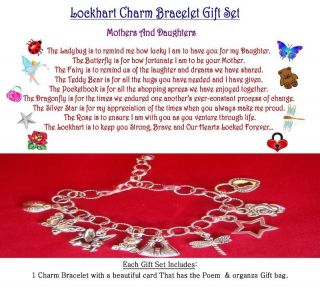 Mother to Daughter Theme Charm Bracelet Set with matching Poem on a