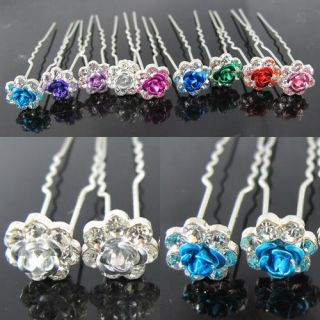 10pcs 20pcs Rose Clear Crystal Bridal Wedding Hair Pins Clips 9 Colors