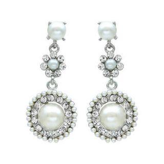 Bridal Wedding Jewelry Crystal Rhinestone Pearl Circle Dangle Earrings