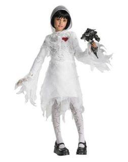 Child Girls White Skeleton Bride Halloween Costume Fancy Dress Up