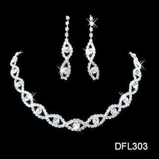 Wedding Bridal Bridesmaid crystal necklace earring Sliver Jewelry set