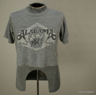 Vtg 80s ALABAMA ROLL TIDE Heather Grey Half Crop t shirt MEDIUM