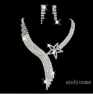 Swarovski Crystal Wedding Party Bridal Jewelry Set Tassel Necklace