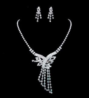 Wedding Bridal Set, Rhinestone Crystal Clear Necklace Earrings,Unisex