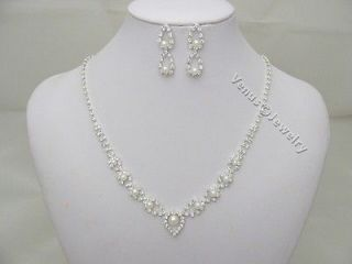 PEARL CRYSTAL Wedding Bridal NECKLACE EARRINGS SET Brides Maid Gift