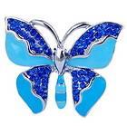 White Crystal Rhinestone Profile Butterfly Flight Pin Brooch