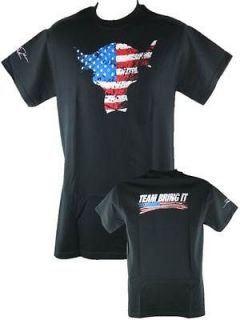 The Rock Team Bring It USA Red White Blue Bull T shirt