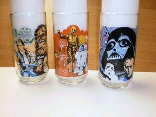 1977 Burger King Star Wars Glasses Darth Vader, Chewbacca, R2 D2