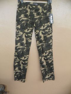 Army Green Camouflage Young Girls Urban Wear Pocket Pants New