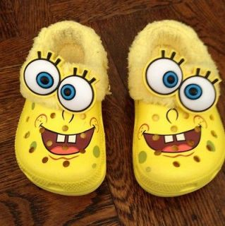 Spongebob Croc style shoes boy girl LINED fall winter size 8 9