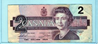 1986 Bank of Canada Canadian Paper Currency 2 Dollar bill (LOT 5)